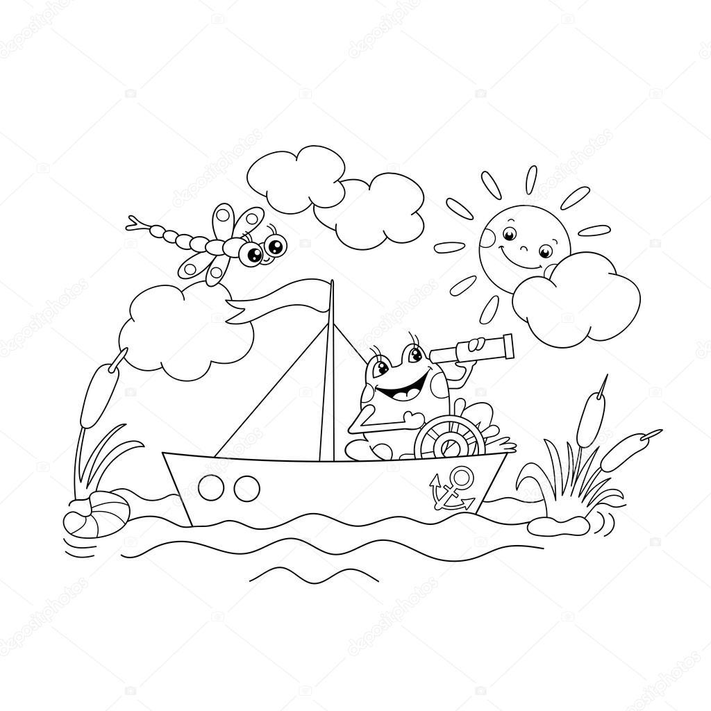 Bir Teknede Yüzen Boyama Sayfa Anahat Bir Neşeli Kurbağa Stok