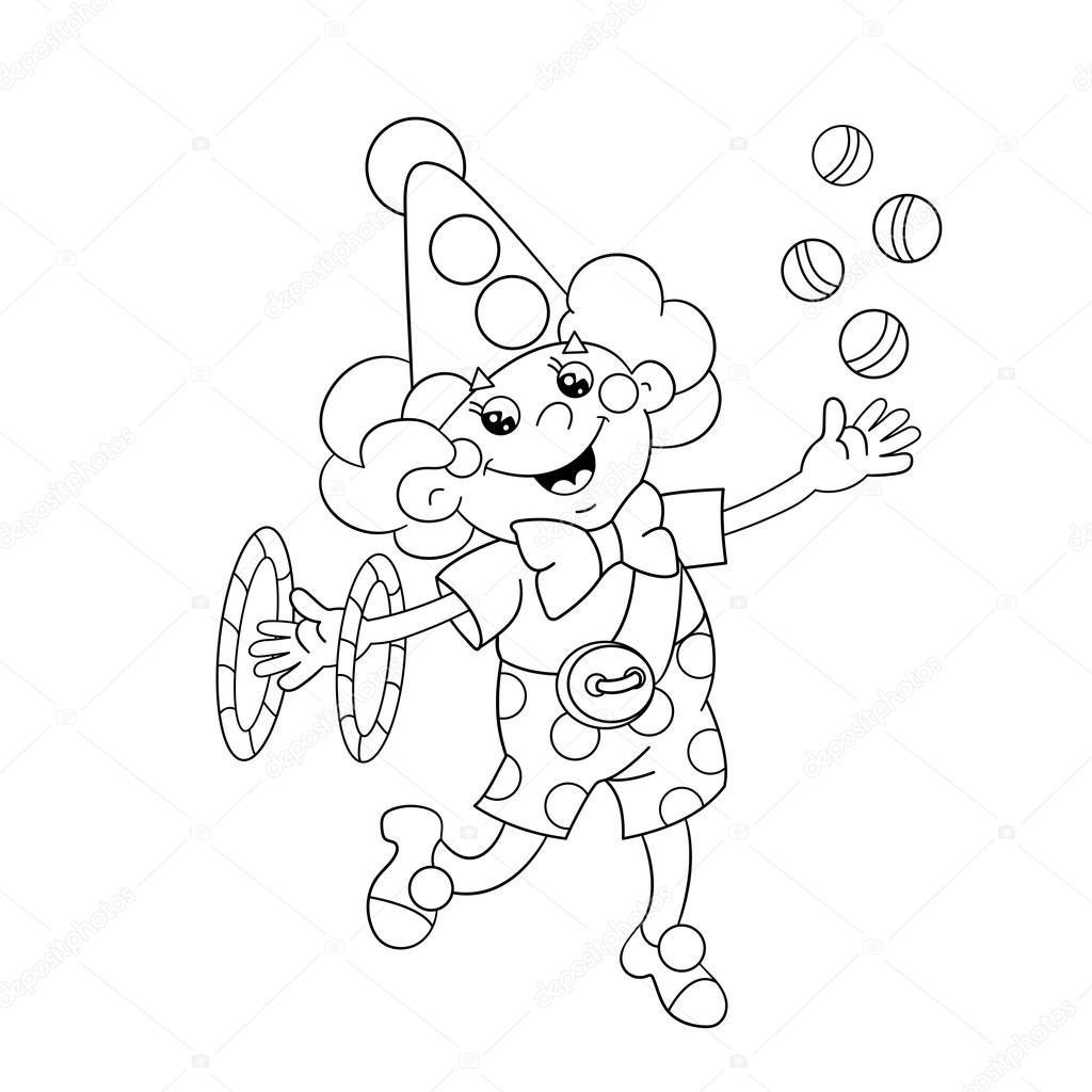 Coloriage Clown Drole.Apercu De La Page A Colorier Un Clown Drole Balles De