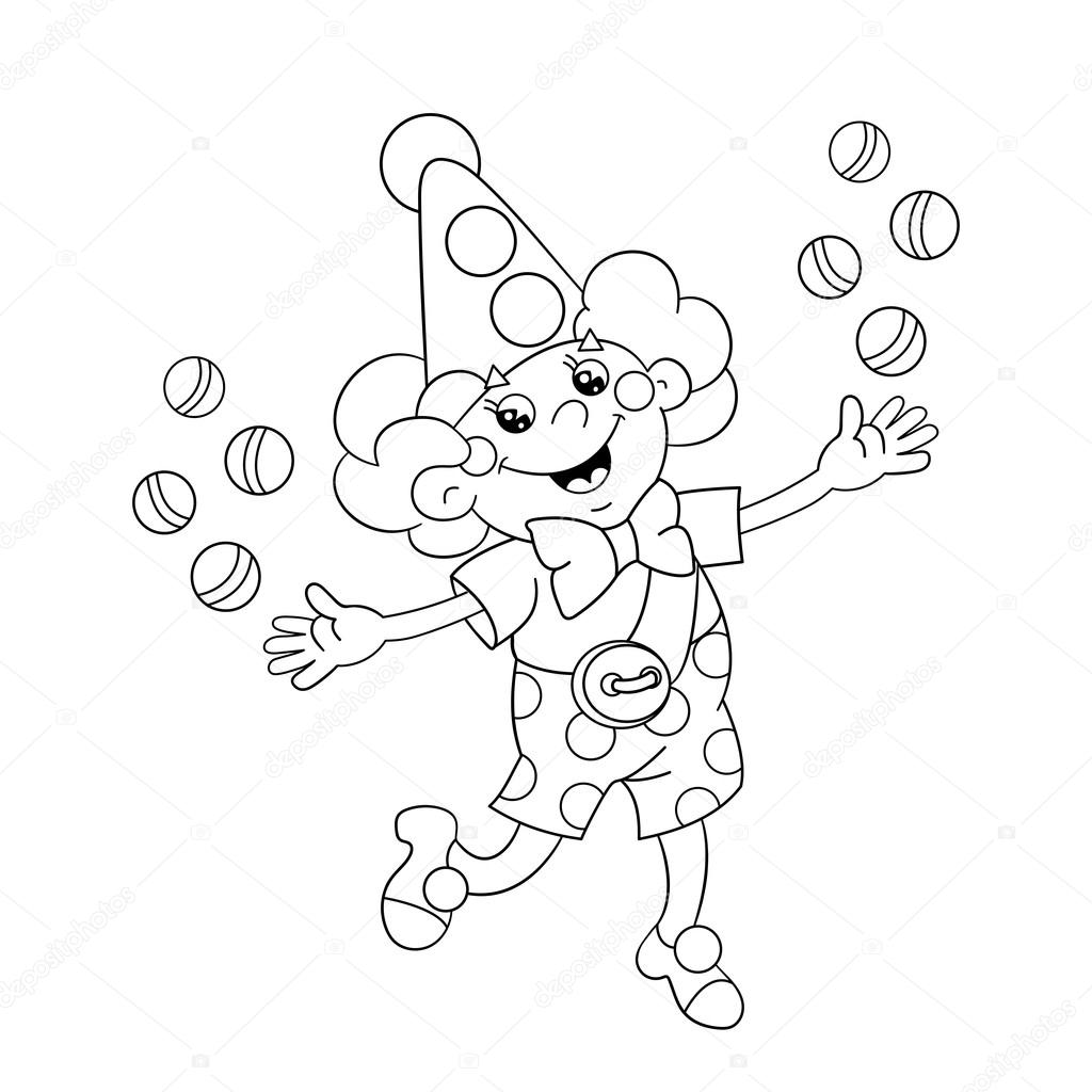 Coloring Page Outline Of A Funny Clown Juggling Balls Stock