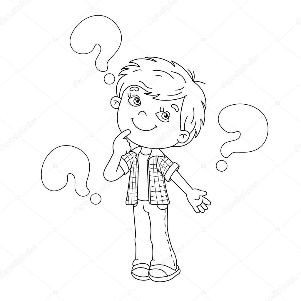 Esquema de la página de dibujos animados de chico con las grandes ...