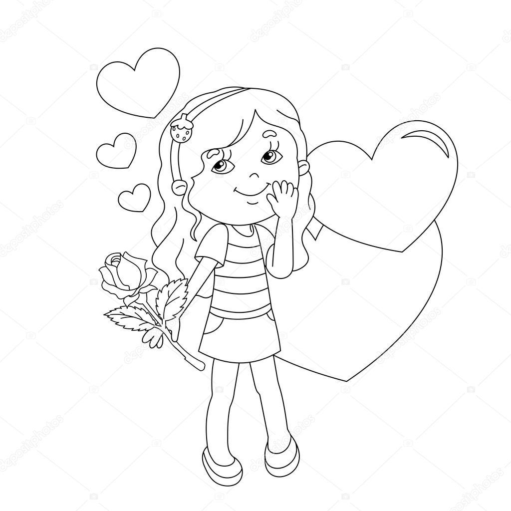 Gül Desenli Ve Yürekleri Sayfa Anahat Kız Boyama Stok
