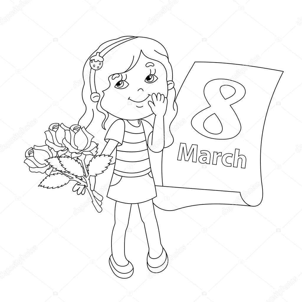 Esquema de página para colorear de niña con flores. 8 de marzo ...