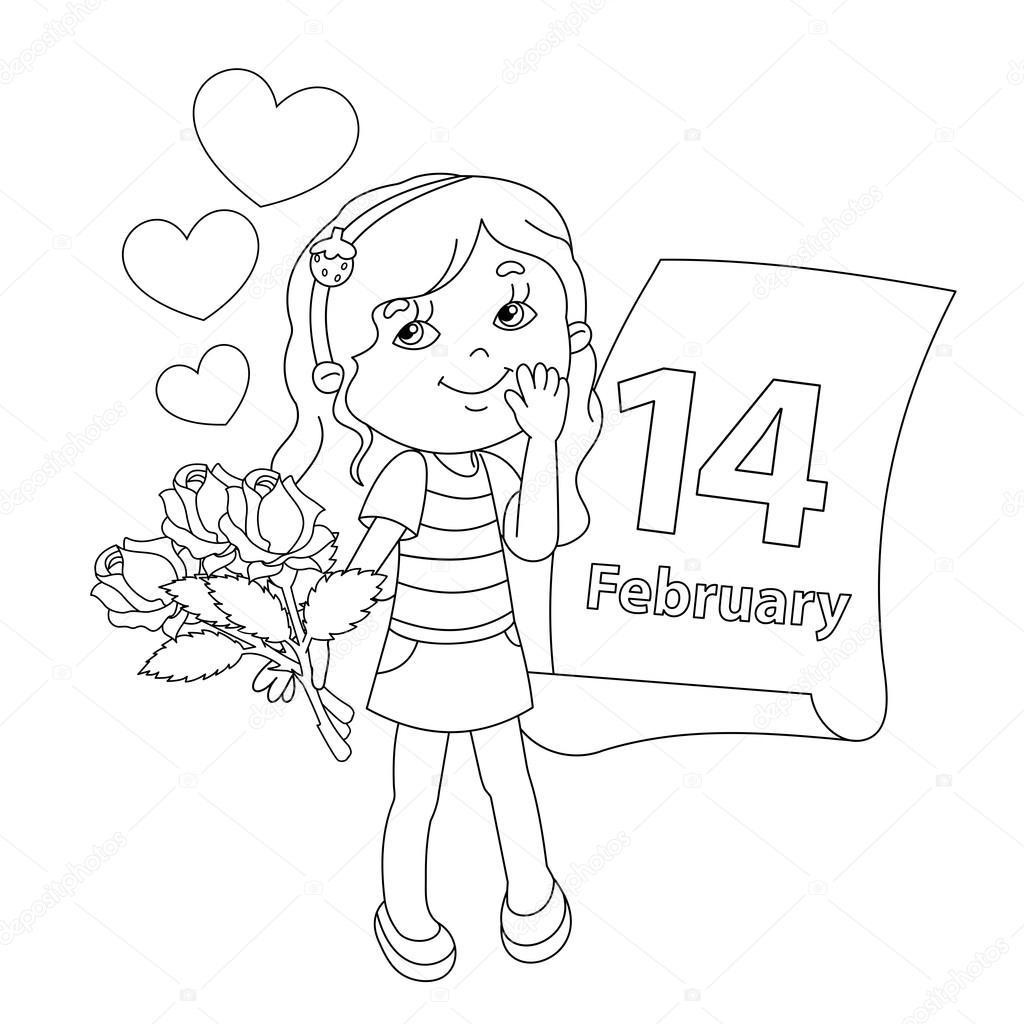 Esquema de página para colorear de niña con flores. Día de San ...