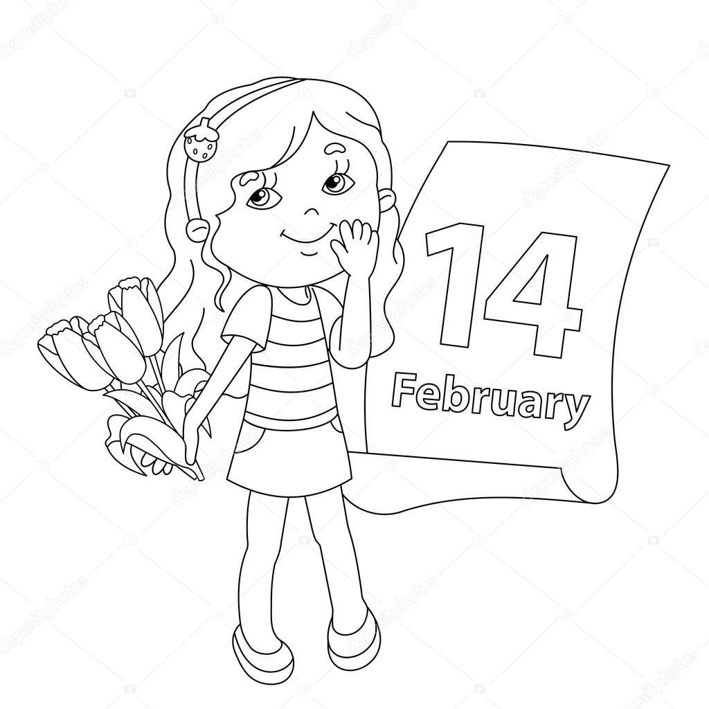 Coloring page outline of girl with flowers Valentines day