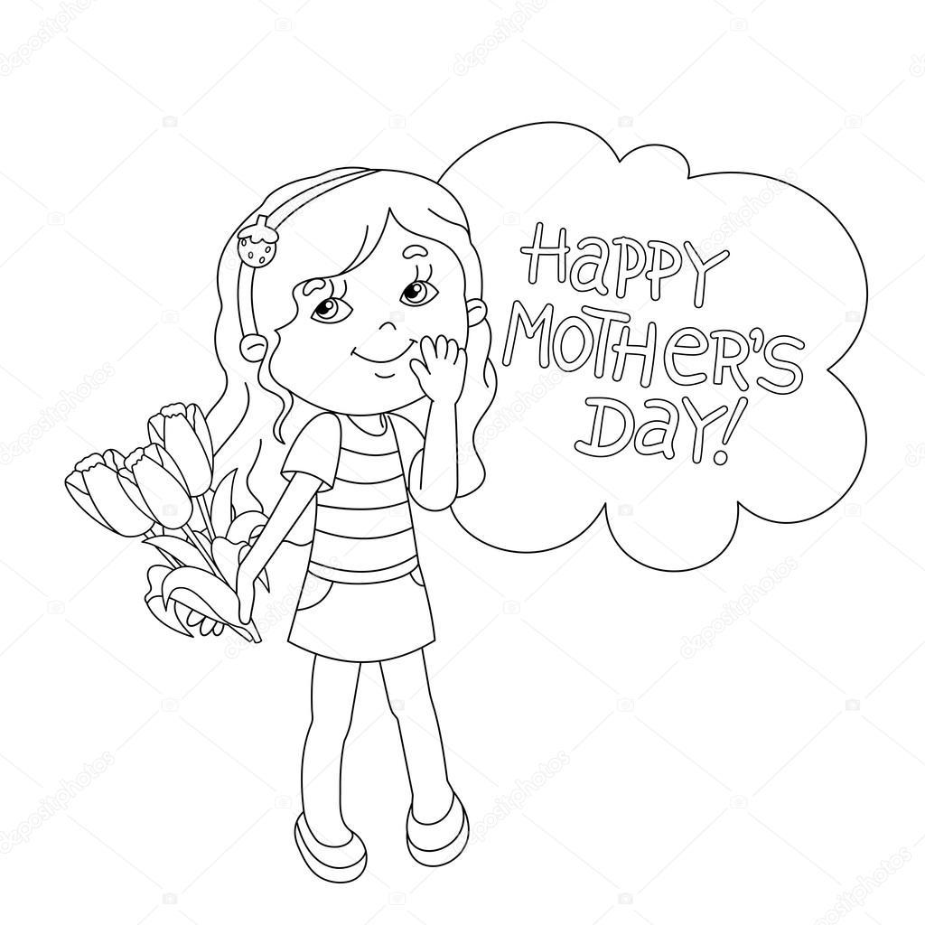 Esquema de página para colorear de niña con flores. Día de la madre ...