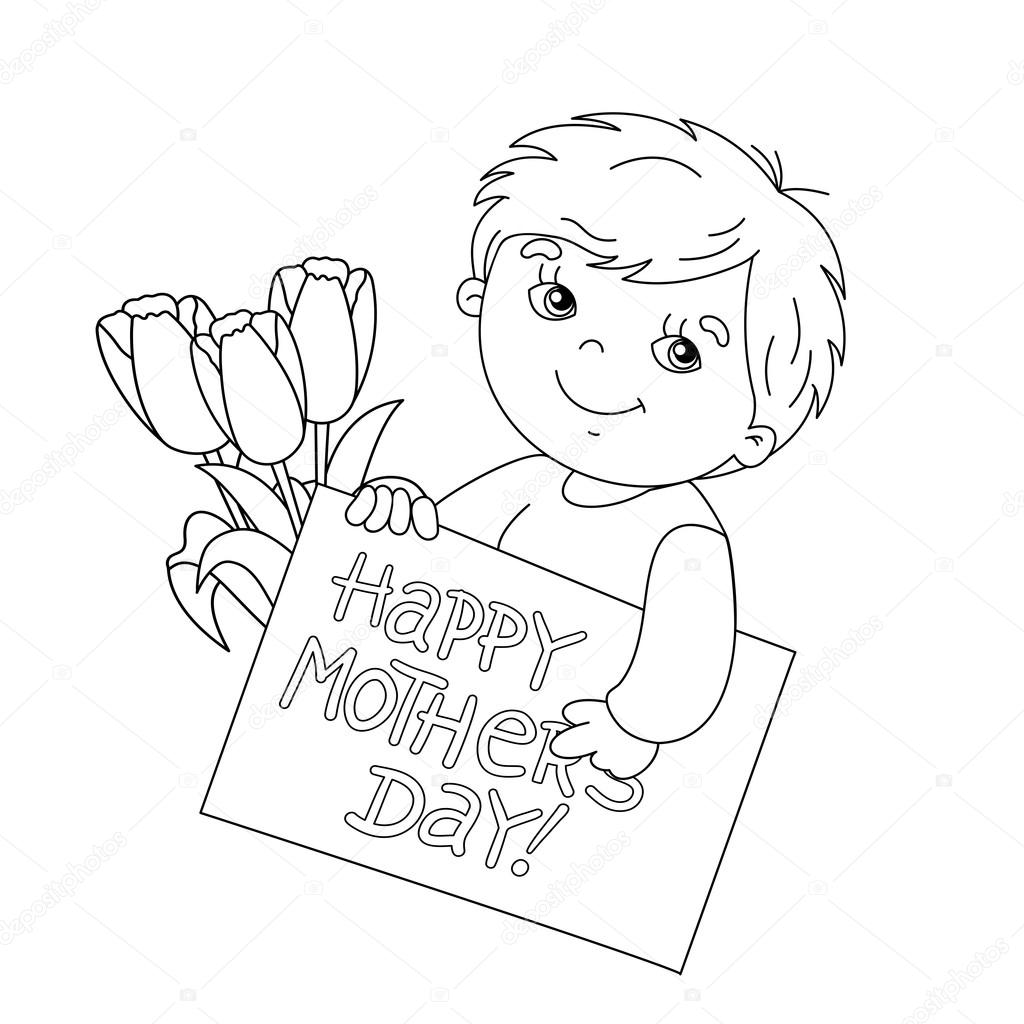 Sayfa Anahat çocuğun Kartı Ile Anneler Günü Için Flo Ile Boyama