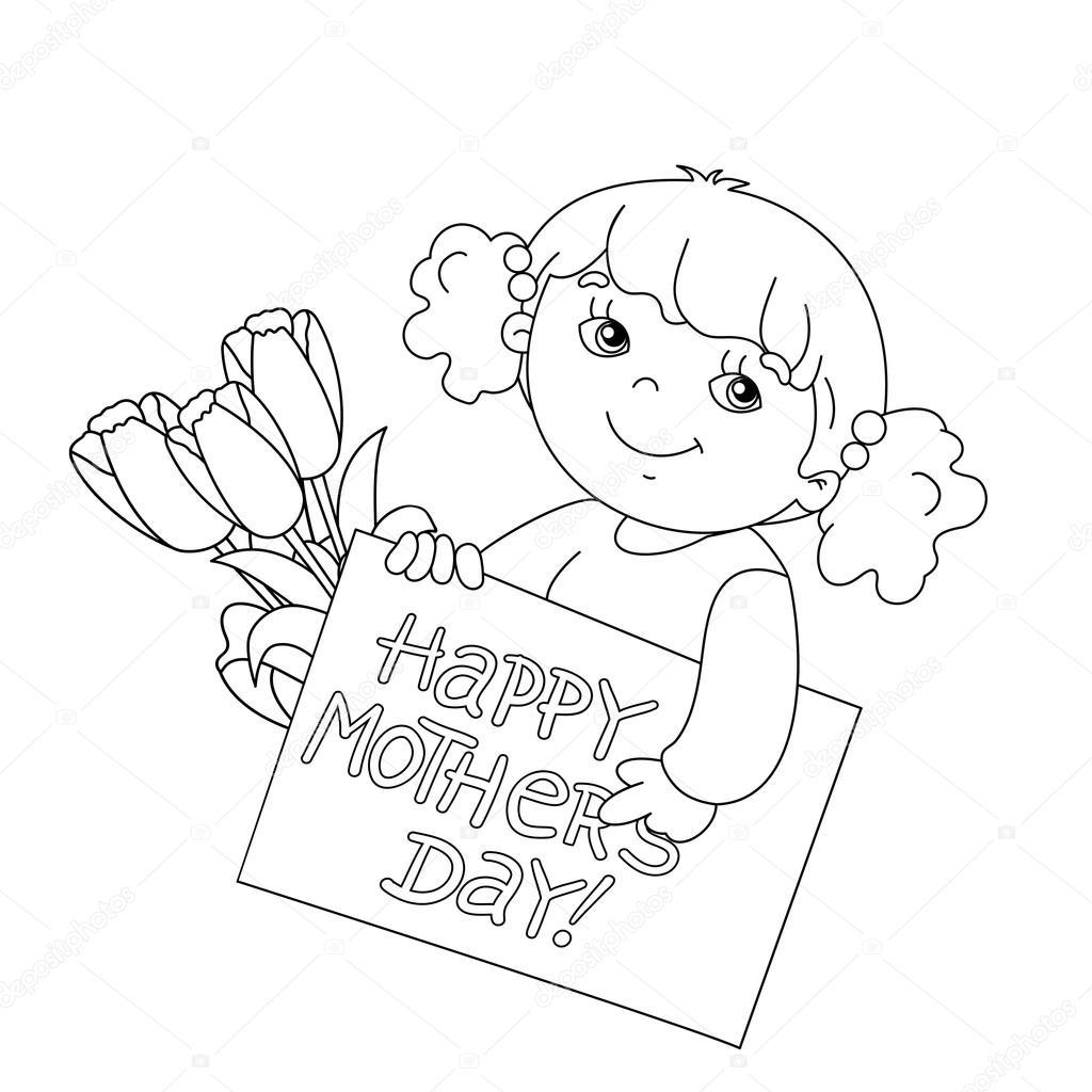 Coloring Seite Gliederung des Mädchens mit Karte für Muttertag mit ...