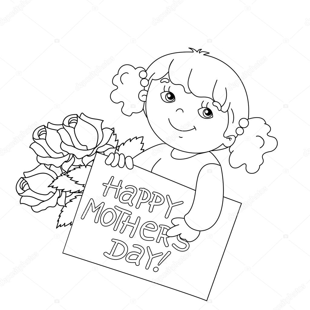 Sayfa Anahat Kızın Kartı Ile Anneler Günü Için Fl Ile Boyama Stok