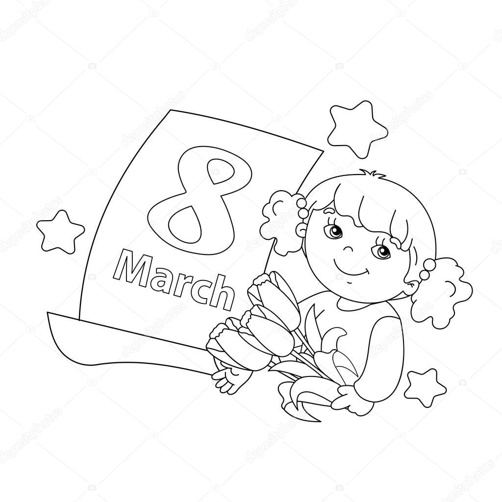 Esquema de página para colorear de niña con flores con el calendario ...
