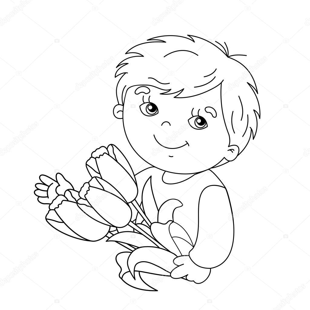 çocuk Boyama Sayfa Anahat Lale Buketi Ile Stok Vektör Oleon17