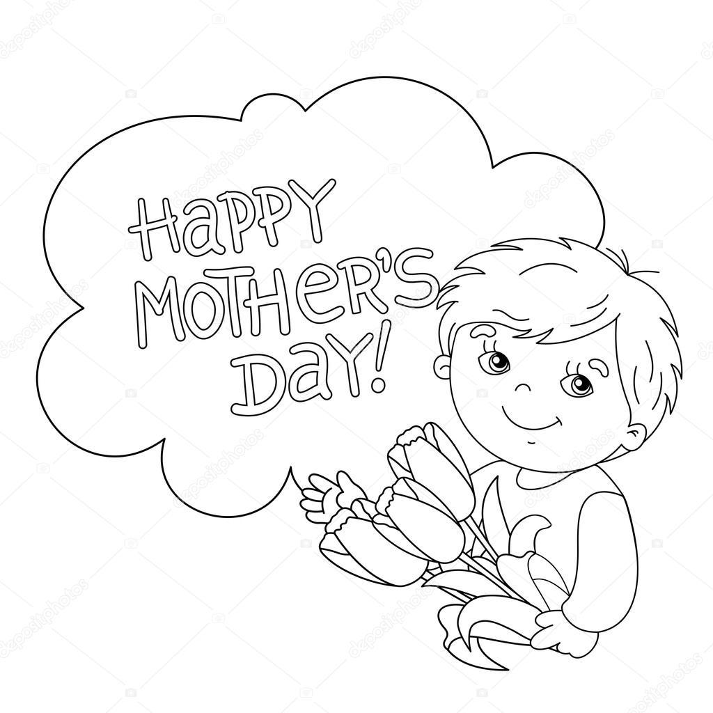 Esquema de página para colorear de niño con flores. Día de la madre ...