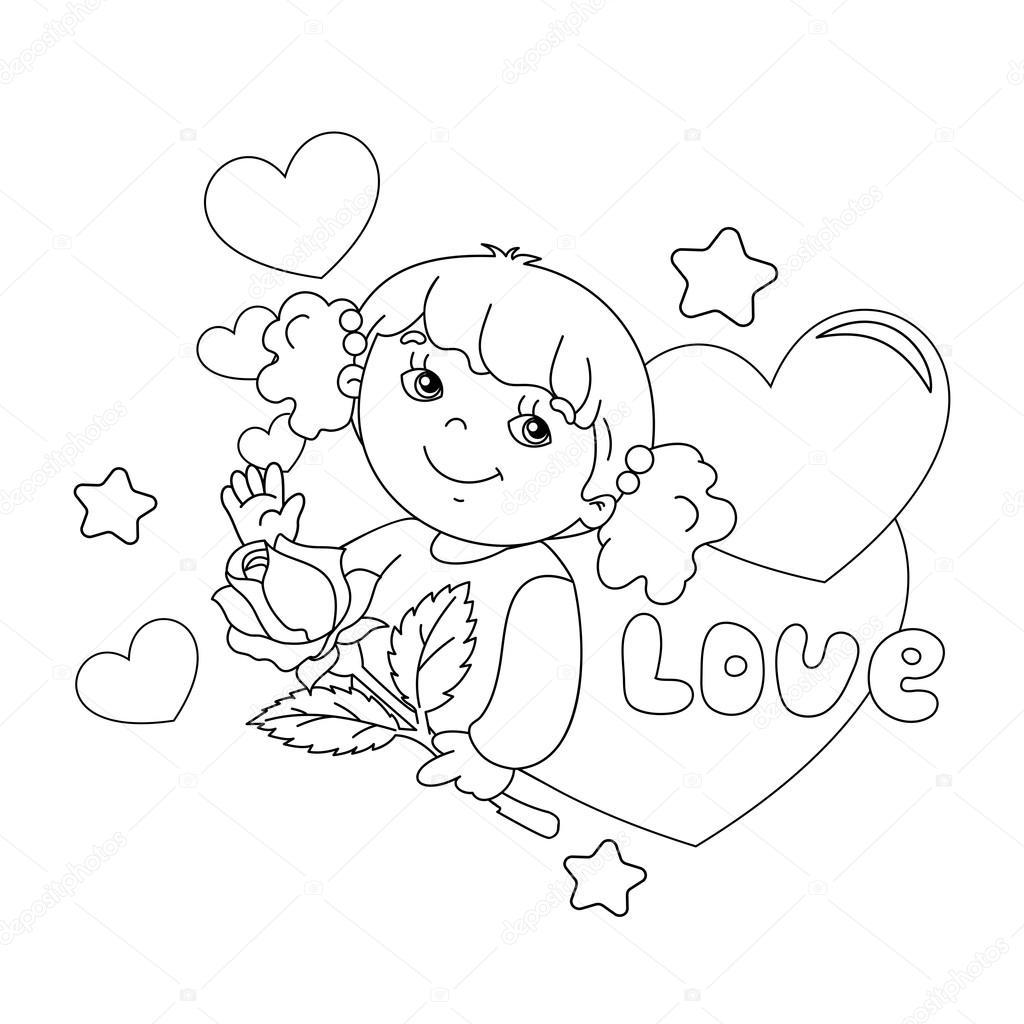 Para colorear esquema de página de la chica con la rosa en la mano ...