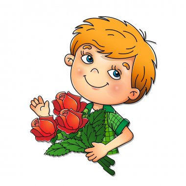 Boy holding a bouquet of roses isolated on white