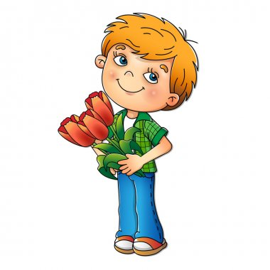 Charming boy holding a bouquet of Tulips isolated on white background. Cartoon. For kids. clip art vector