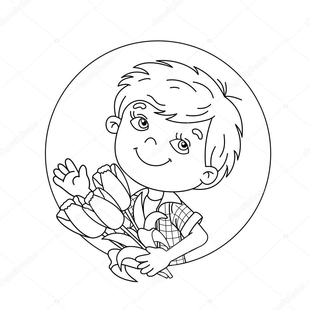Colorear el contorno de la página del niño con un ramo de tulipanes ...