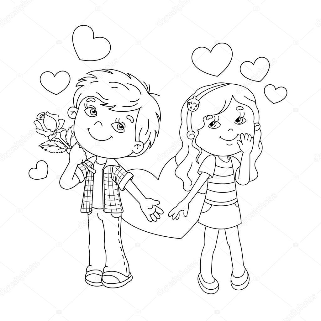 kleurplaat pagina overzicht jongen en meisje met hart