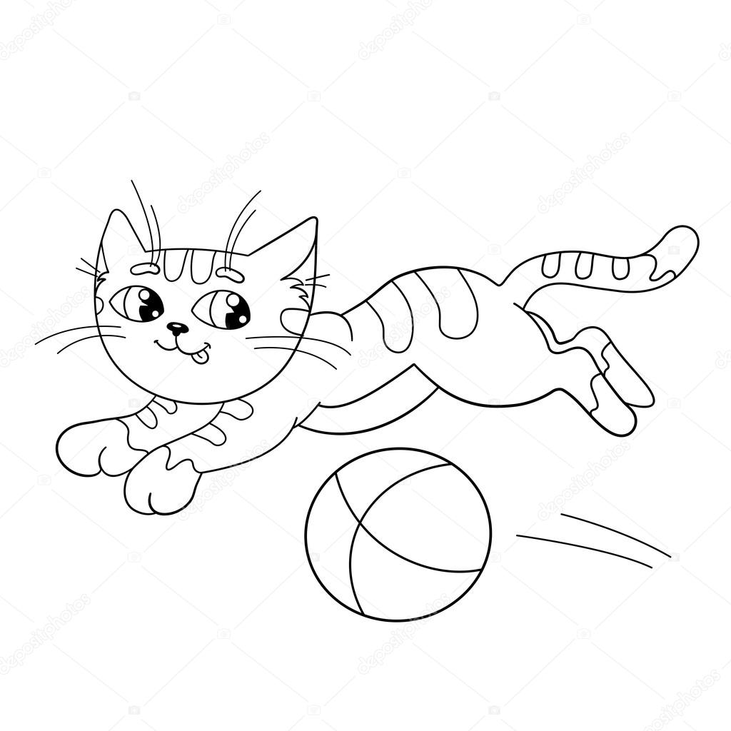 coloring page outline of a fluffy cat playing with ball u2014 stock