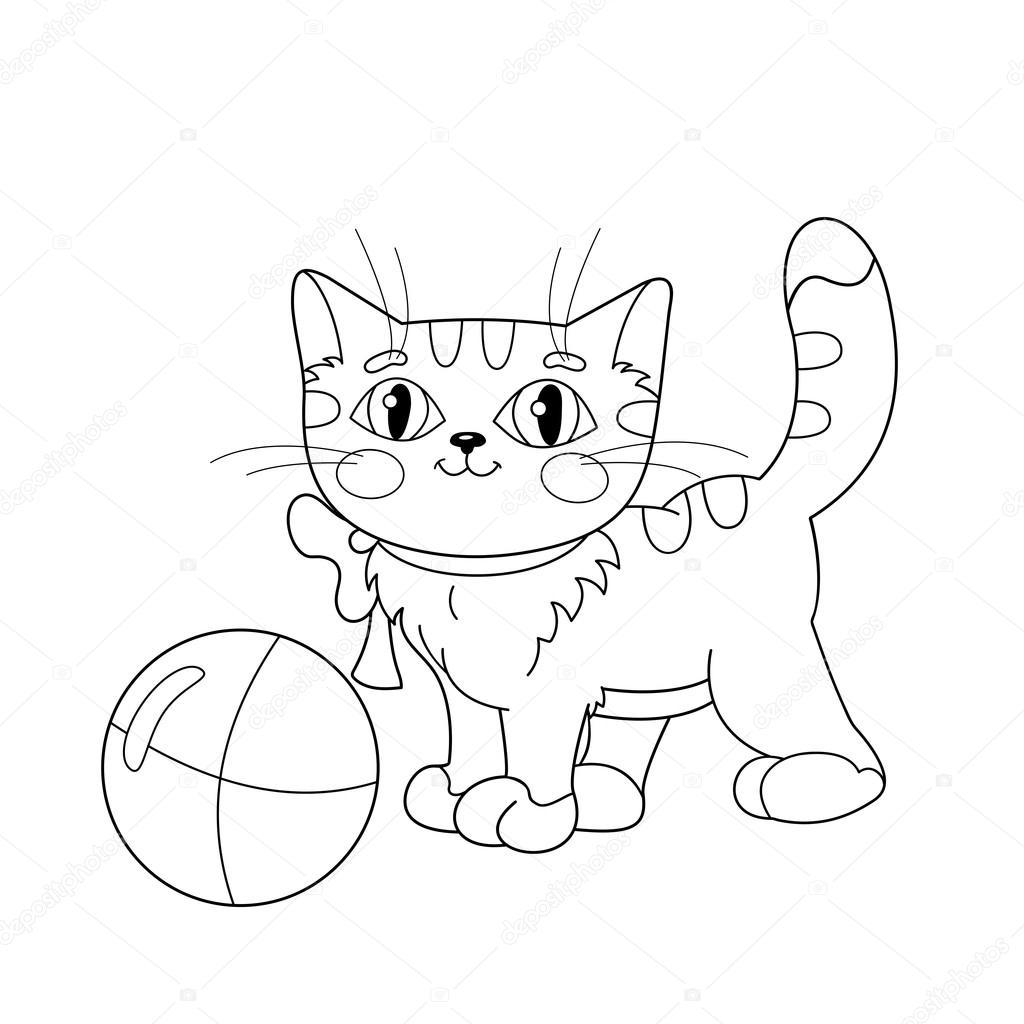 Disegni Da Colorare Pagina Muta Di Un Gattino Birichino