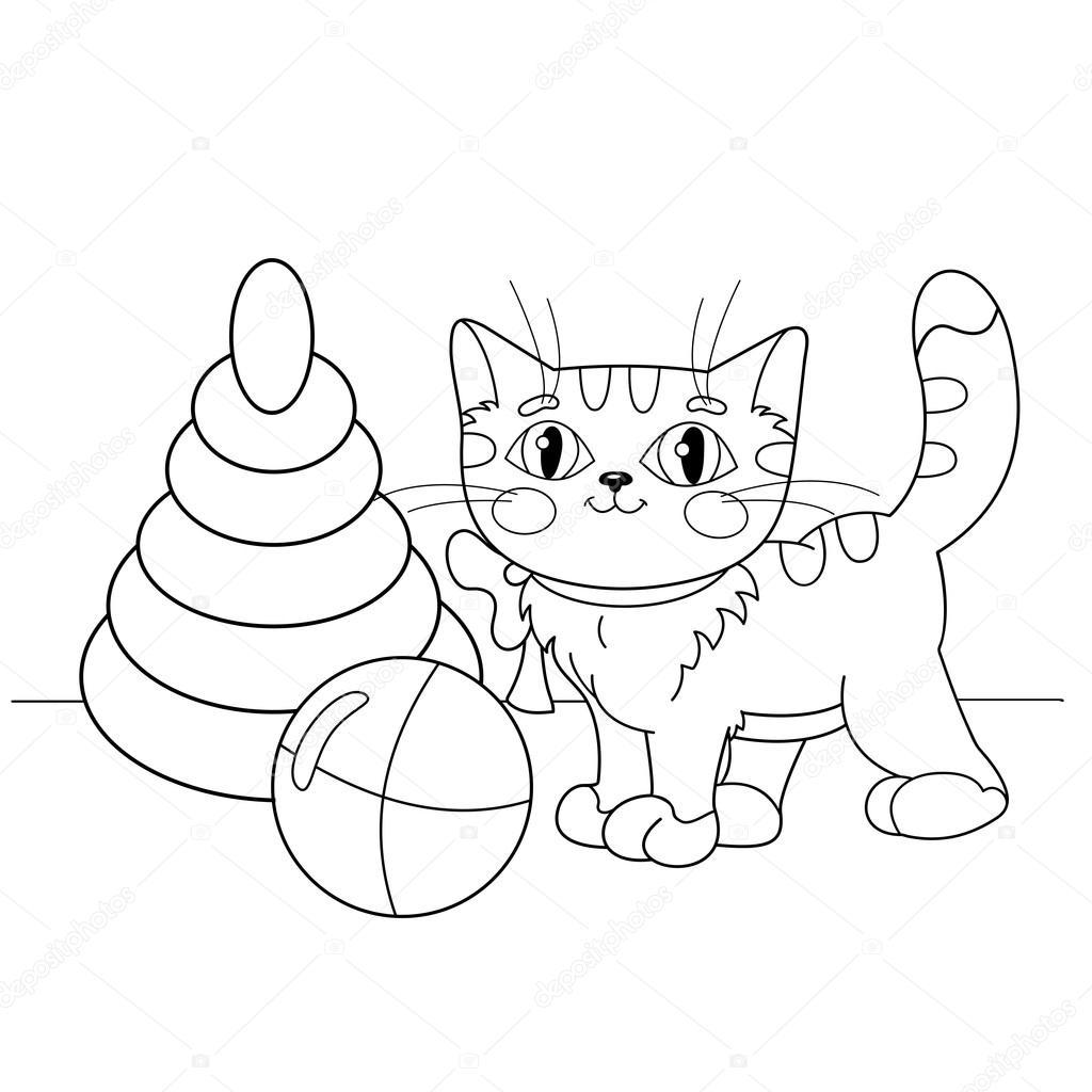 Colorear contorno de la página de dibujos animados gato jugando con ...