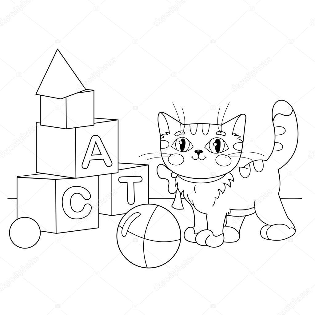Färbung Seite Gliederung der Cartoon Katze spielt mit Spielzeug ...