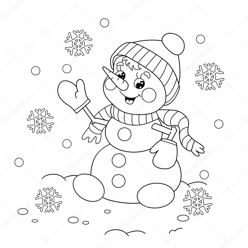 Sayfa Anahat Karikatür Kardan Adam Boyama Stok Vektör Oleon17