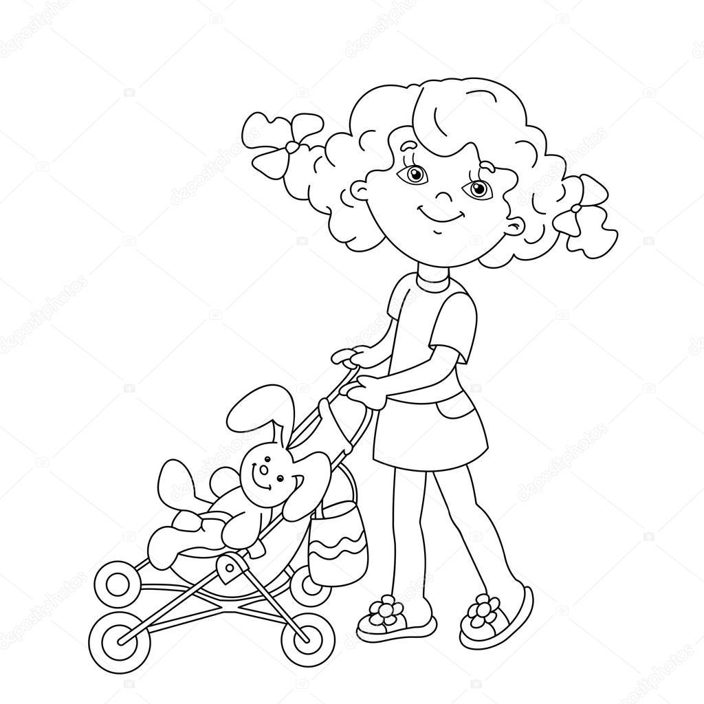 kleurplaat pagina overzicht meisje spelen met
