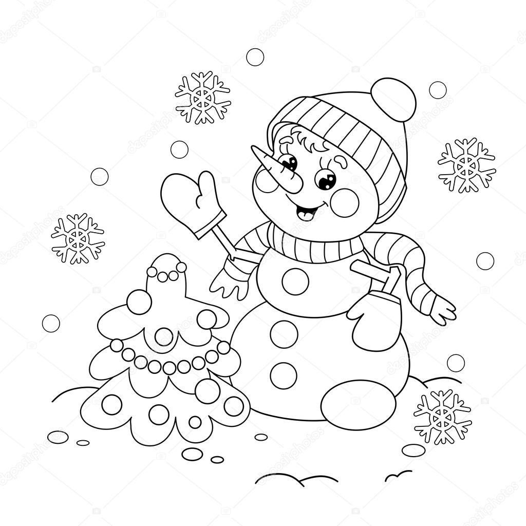 Sayfa Anahat Kardan Adam Noel Ağacı Ile Boyama Stok Vektör