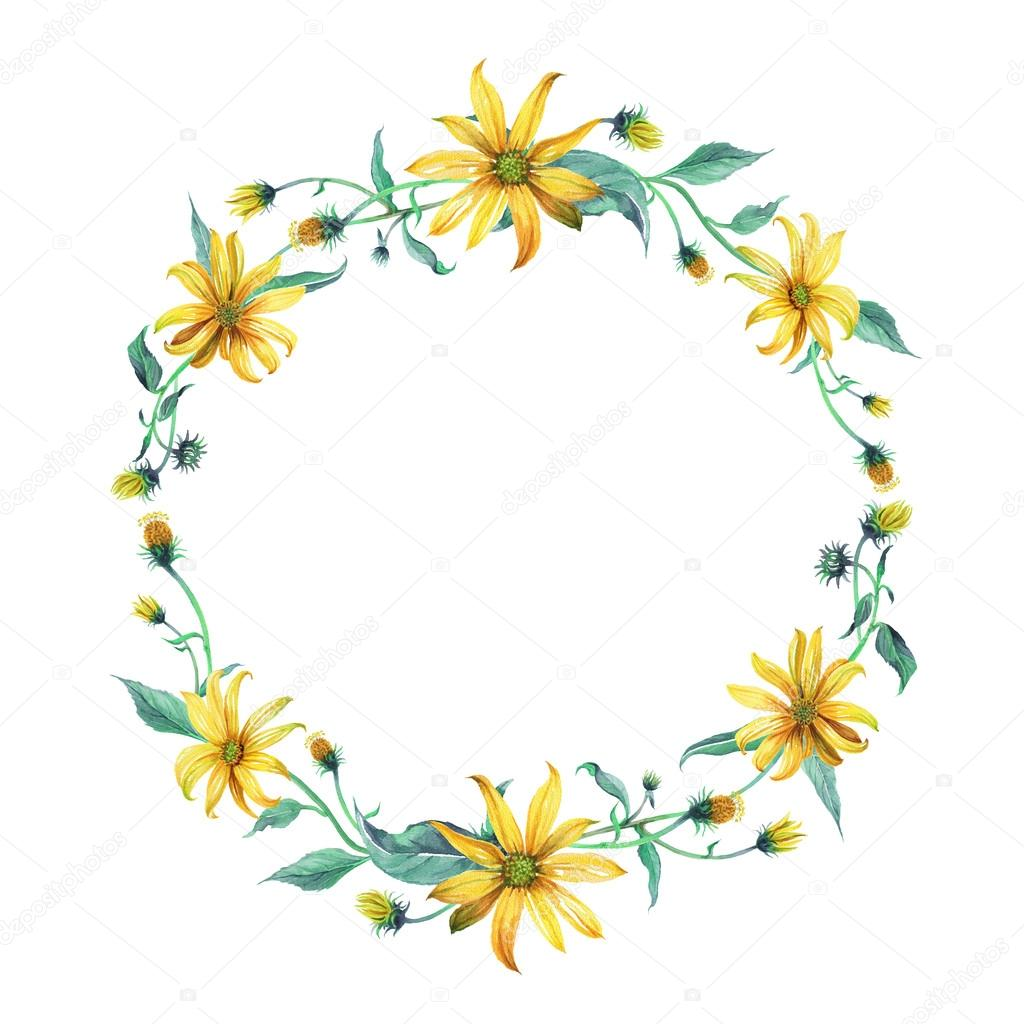 Watercolor Wreath Or Garland Yellow Daisies Stock Photo