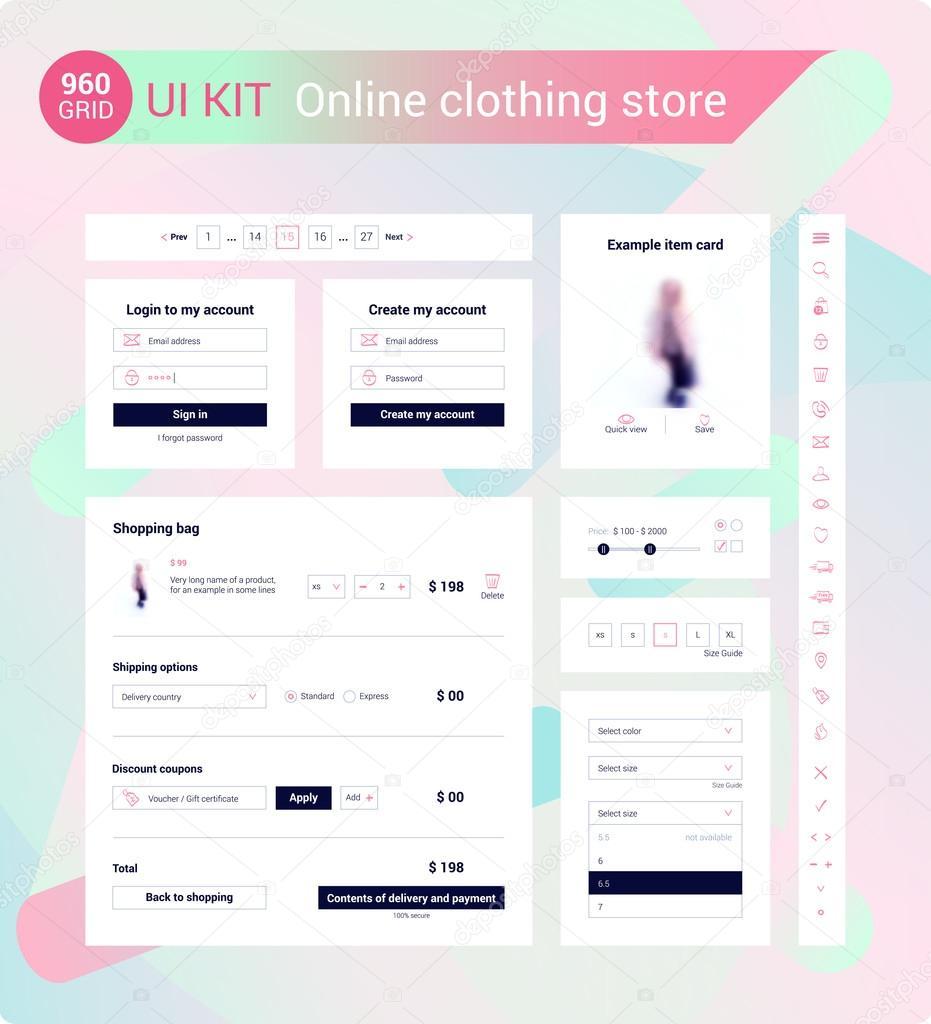 UI Kit for online clothing store — Stock Vector © radionastya #111007988