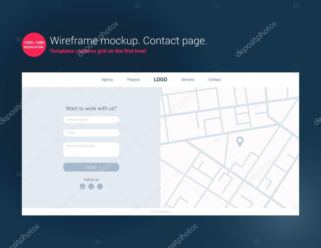 web design wireframe based contact page template contact page