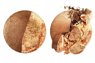 Gold and brown crushed eyeshadow isolated on white background stock vector