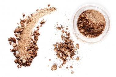 Crushed eyeshadow brown isolated on white background stock vector