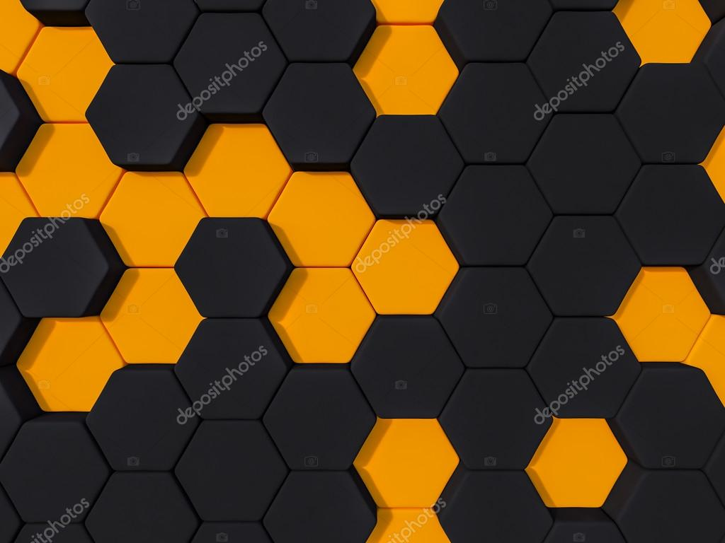 11bd7257a367 Honeyomb Black orange abstract 3d hexagon background — Stock Photo ...