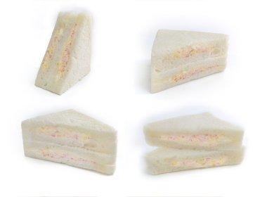set of sandwich isolated on white kani sandwich crab stick