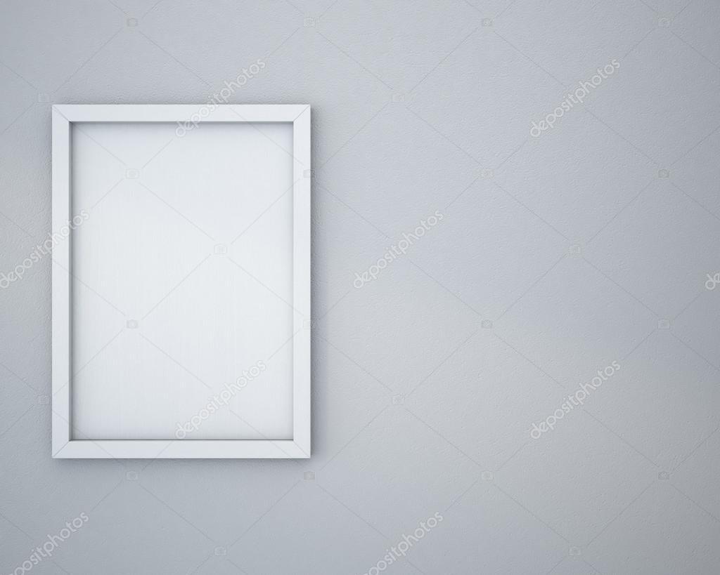 Cadre blanc sur mur gris clair — Photographie chingraph © #89300696