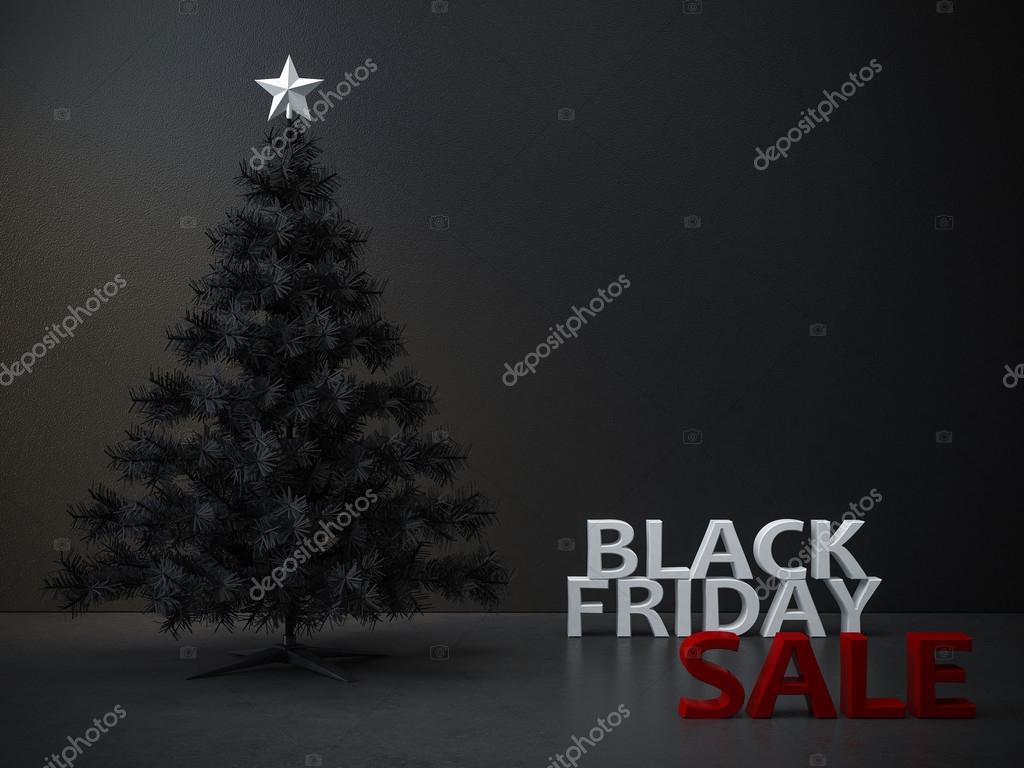 Schwarzer Weihnachtsbaum.Schwarzer Freitag Weihnachtsbaum Hintergrund Stockfoto