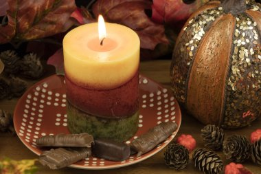 Chcolates and Pumpkin Candle Decorations
