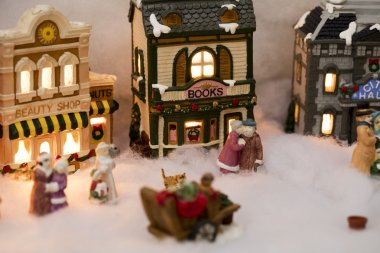 Miniature Christmas Village Scene
