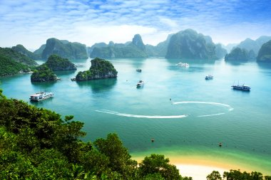 Halong Bay in Vietnam. Unesco World Heritage Site. Most popular place in Vietnam.