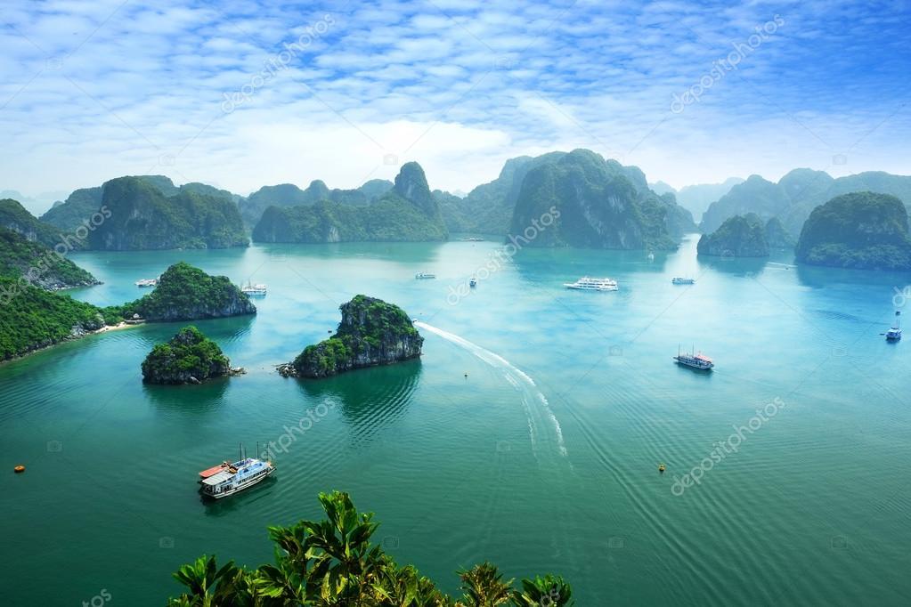 Halong Bay in Vietnam. Unesco World Heritage Site. Most popular place in Vietnam.