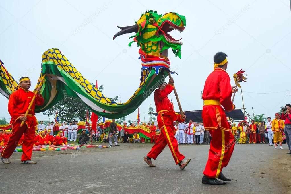 A group of unidentified people perform dragon dance in festival tradition at April 27, 2014