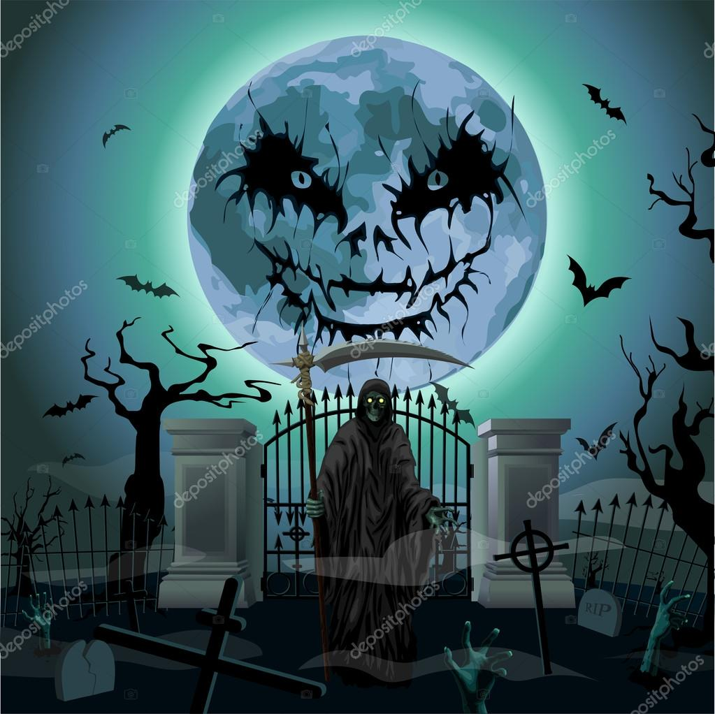 Halloween night full scary moon cemetery graves death - Halloween fensterdeko ...