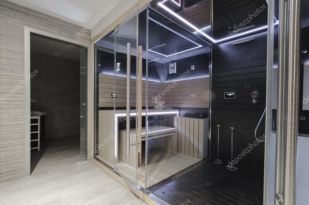 Moderne Sauna sauna finlandais moderne avec des néons. bel interieur de maison