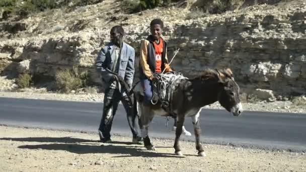 Boys ride on donkeys