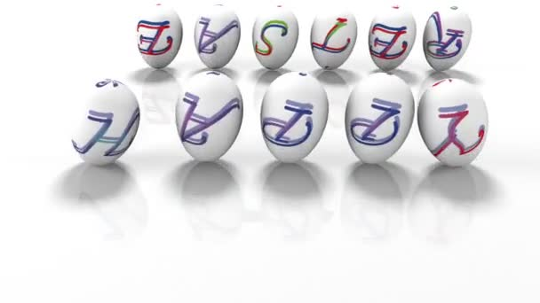 Easter eggs rolling around text Happy Easter, 3d render