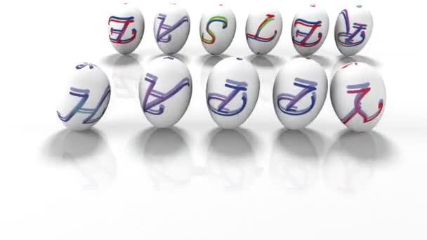 Velikonoční vajíčka, kutálení kolem textu Veselé Velikonoce, 3d vykreslení