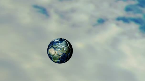 Animovaná ukázka fotbalového míče po celém světě obloha
