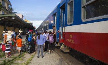train catching passengers in Hue Railway Station