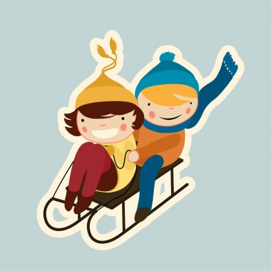 Cartoon flat cute couple on sled, colorful winter sticker stock vector