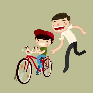 father teaches son to ride a bike